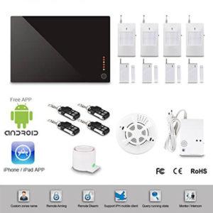 Floureon Sistemas de Seguridad Alarmas (Antirrobo, Gas Humos Intruso, GSM, 12 Zonas inalámbricas , Marcado Automático, iOS y Android App), Multi-idiomas