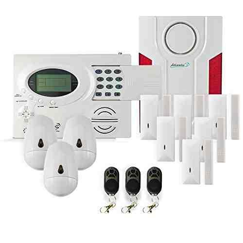 Atlantic'S ST-III KIT 5 - Conjunto de alarma inalámbrica 9 sensores 3 mandos a distancia con 4 funciones y 1 sirena exterior inalámbrica43395 MHz alcance de radio de 150 m 105 dB 204 x 145 x 32 mm 9 pilas CR123A incluidas color blanco