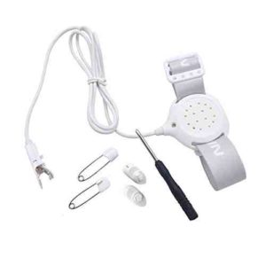 TEQIN Conjunto 6 en 1 Alarma con Todas las Funciones para Niños, Sensor de Alarma de Eneuresis de Última Generación con Sonido y Vibración + 1 Destornillador + 2 Clips Pequeños + 2 Pins para Aprendizaje del Uso del Indodro para Niños y Niñas (Blanco)