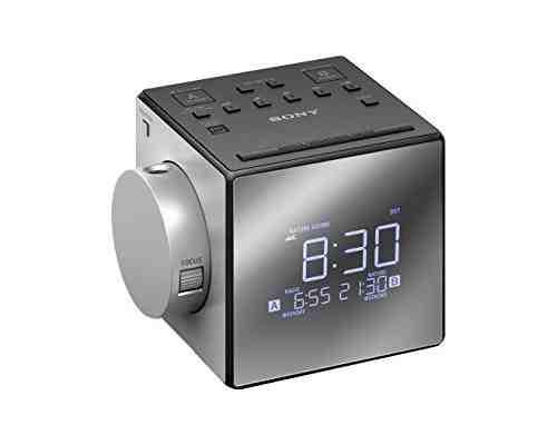 Sony ICF-C1PJ – Radiodespertador con proyector (AM/FM, alarma dual, mono), plateado