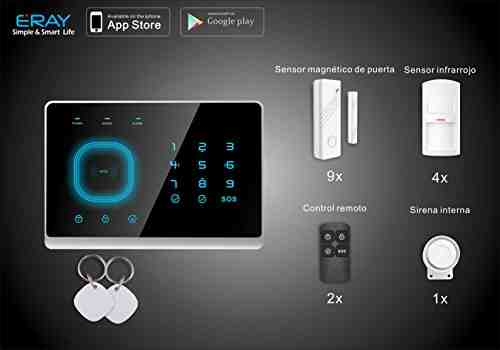 Eray GSM Sistema de Alarma Pantalla Táctil con Tarjeta RFID Seguridad para Hogar Apoyo de Android IOS APP Remote Control 433MHz-Negro