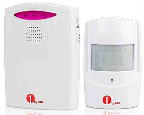 1byone Alarma de seguridad, Sensor de movimiento inalámbrico del sistema de seguridad para casa, 1 sensor & 1 receptor