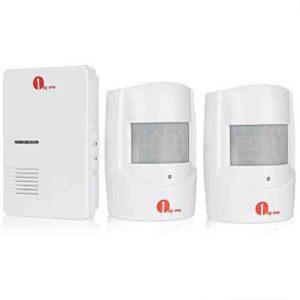 1byone Alarma de seguridad, Sensor de movimiento inalámbrico del sistema de seguridad para casa, 2 sensores & 1 receptor con enchufe