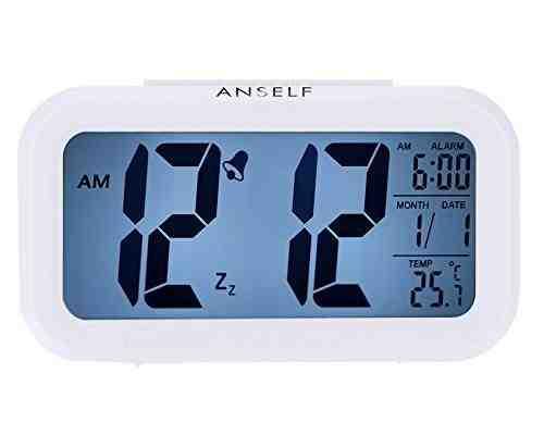Anself LED Digital Alarma despertador Blanco puro